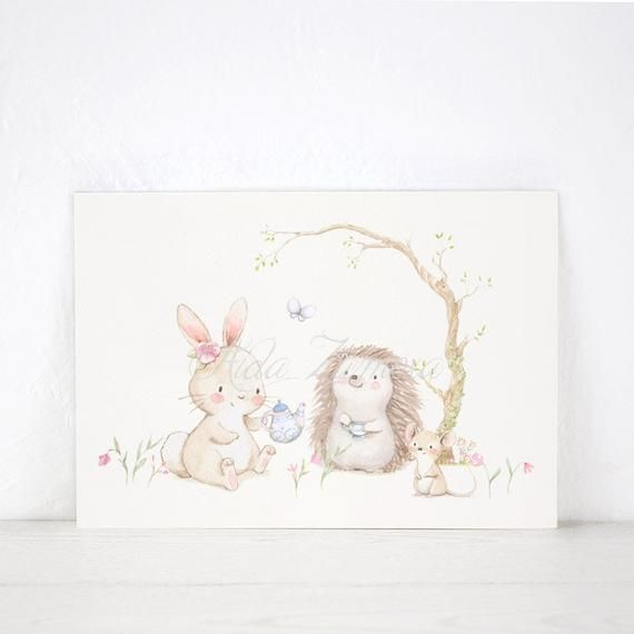 Nursery Print Tea Time Girl S Wall Art Nursery Art Woodland