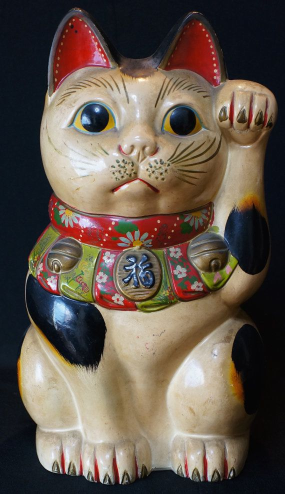 Vintage Traditional Manekineko Japanese Lucky Cat Money
