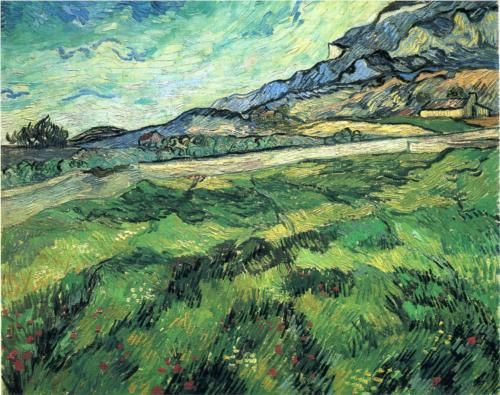 Vincent van Gogh, The Green Wheatfield behind the Asylum,   oil on canvas, 1889  http://paintwatercolorcreate.blogspot.com/2013/03/generous-green.html#