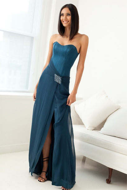 Silk chiffon #bridesmaid dress with stretch corset bodice  indiracollection.com