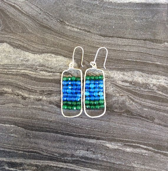 Sterling silver earrings wire earrings beaded earrings with