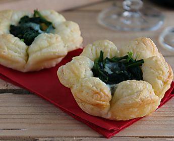 Cestini di pasta sfoglia con spinaci