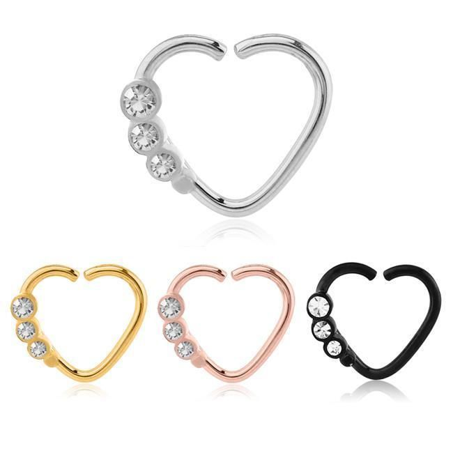 316L Surgical Steel Nose Ring Continuous Heart Hoop 16G | $11.99