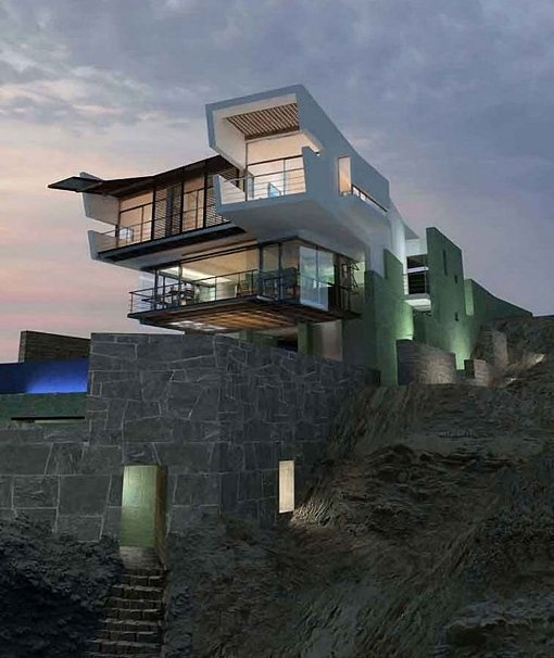 Concrete Beach House    The Lefevre House located near Lima, Peru was constructed on top of a giant rock. Architects blended the home's rock-covered, concrete walls with the existing natural cliff below it. Stone stairs, rooftop sand gardens, and nature-inspired interior design complement the amazing ocean view, making it a true stunner.