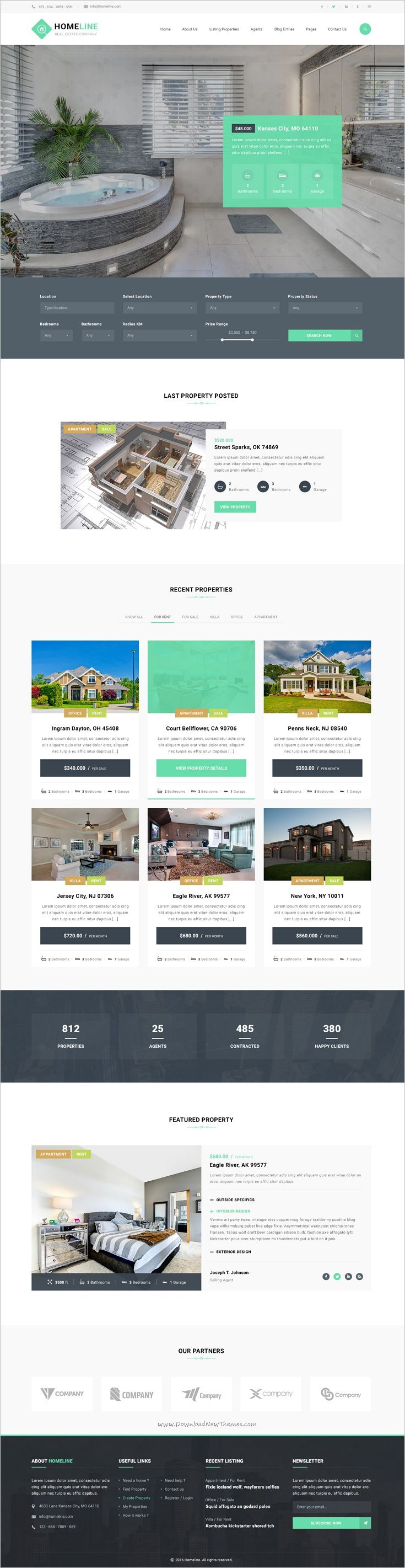 Homeline is a modern and unique #PSD #template designed for #RealEstate Business website with 3 unique homepage layouts download now➩  https://themeforest.net/item/homeline-real-estate-psd-template/18709943?ref=Datasata