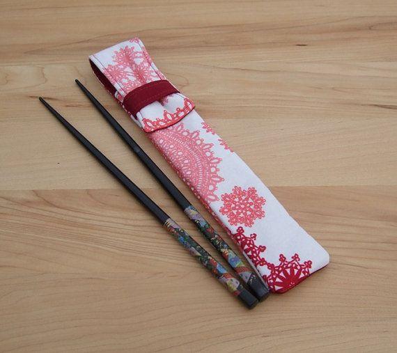 Needle Pouch  chopstick carrier  crochet hook by SkinnyBugStudio