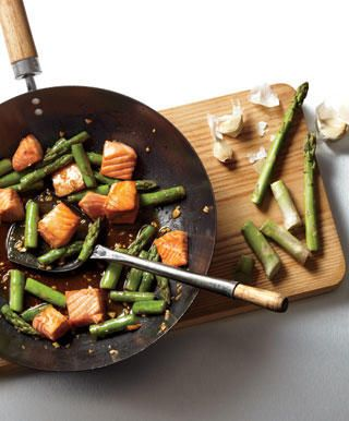 Recipes from Men's Health: Thai Red Curry with Beef, Soba Shrimp Pad Thai, Salmon Teriyaki with Asparagus, General Tso's Chicken with Broccoli