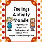 The Feelings Activity Bundle: Finger Puppets, Paper Dolls, Feelings Journal, Feelings Wheel, Anger Management Problem Card Set #Feelings #EmotionalIntelligence $