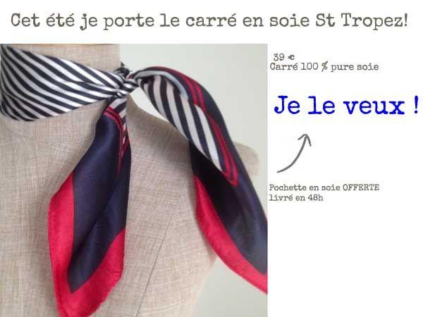 La tendance de l'été c'est le foulard rayé marin de couleur bleu marine, blanc et rouge. Pour homme et femme, l'écharpe tendance à la mode.