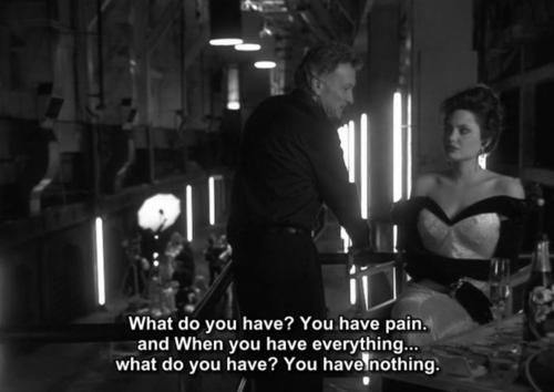 Angelina Jolie as Gia Carangi, quote from the movie Gia about pain, suffering and lonliness