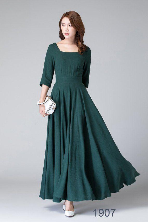 Long Sleeve Linen Maxi Dress With Pocket Black Dress Women Etsy Linen Maxi Dress Maxi Dress With Sleeves Dresses