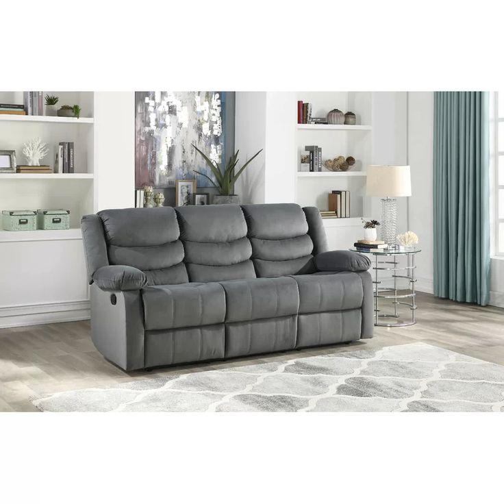 Best Winston Porter Medved Suede Reclining Sofa Wayfair 400 x 300
