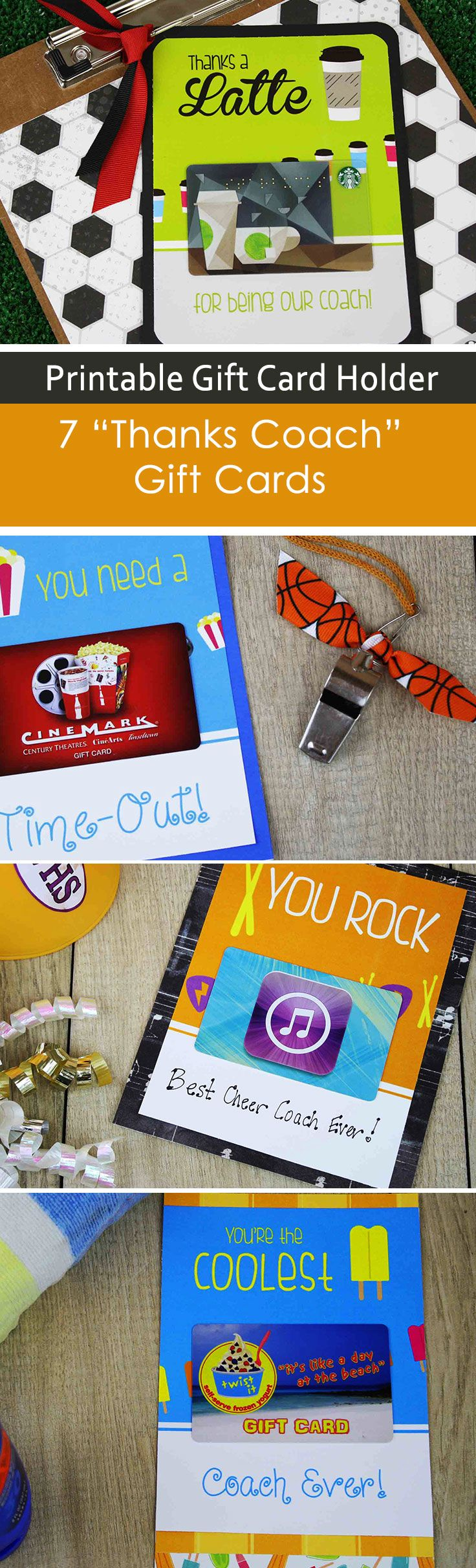 A series of seven printable gift card holders for your coaches. End of season? There's a great gift card holder for your cheer coach, soccer coach, and more. Male and Female coach choices too!