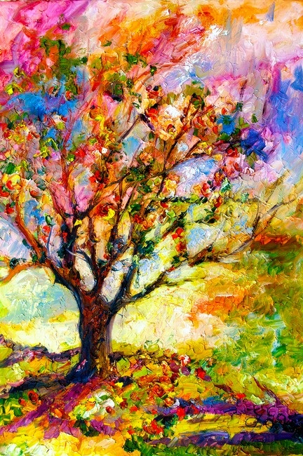beautiful painting of a tree, simple and complicated at the same time