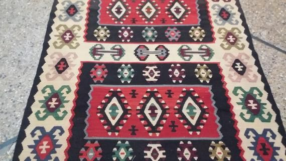 3.6 x 6.7 foot Vintage Geometric Pattern Turkish Flat Weave Kilim Runner,Beautiful Anatolian Turkish