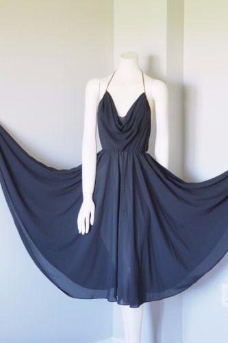 WAYNE CLARK Aline Marelle VINTAGE Halter Black Chiffon Evening Dress Gown SZ 8