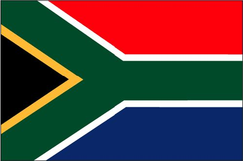 Shown above is the official South African flag. The colors red, green, white and blue represent the nations rainbow of peoples. The Y represents the union of groups that form South Africa