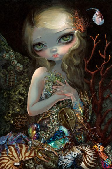 """Soft Shell"" 20x30"" acrylic painting SOLD, prints now available - http://www.strangeling.com/shop/fine-art-prints/soft-shell/  #jasminebecketgriffith #strangeling #jonathanlevinegallery #nyc #fantasyart #surrealism #fantasyart #painting #popsurrealism #newcontemporary #newcontemporaryart #mermaid #crab #lobster #seashells #ocean #gothicart #bigeyes #bigeyeart #lowbrowart #acrylic #beach"