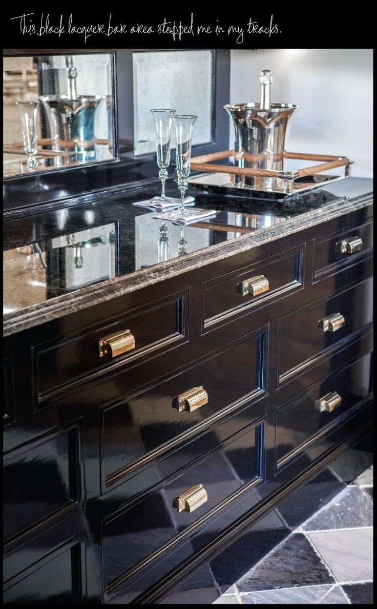 Gorgeous black lacquer cabinets - Check out the hardware!