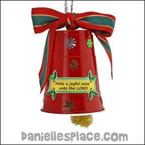 """Make a Plastic Cup Bell    This craft goes with the Christmas Bible lesson """"Ring the Bells!"""" on The Resource Room.  Bell Cup Craft    What you will need:    Large Plastic Cups    Jingle Bells    Chenille Stems    Christmas Ribbon    Sequins    Christmas Stickers    Printer Paper    Scissors    Glue    Pompoms (Optional)         What to do:    1. Before class punch small holes in the top of the cups with a sharp pair of scissors.    2. Print out labels that say """"Make a Joyful Noise"""" onto…"""
