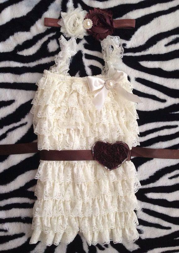 Ivory Lace Romper/ Valentine/ Christening/ Baptism/ by BabyTrendzz, $39.99