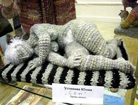 I was googling Yulia Ustinova, and found this. It's not by her, but it is good. What you can do with yarn and a hook!