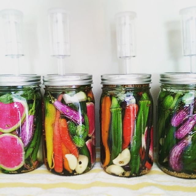 Pickling party with the summer's freshest batch of veggies. Lacto-fermentation at its finest, with…