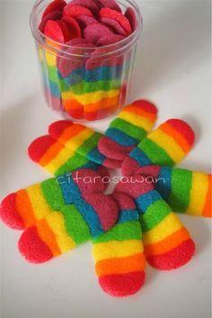 Rainbow butter cookies (Lidah Kucing Pelangi)