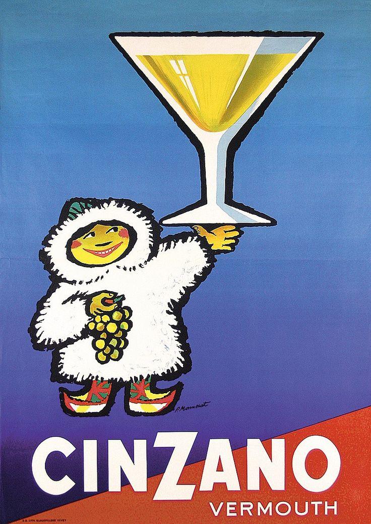 Funny ORIGINAL 1950s Swiss CINZANO Poster Eskimo MONNERAT