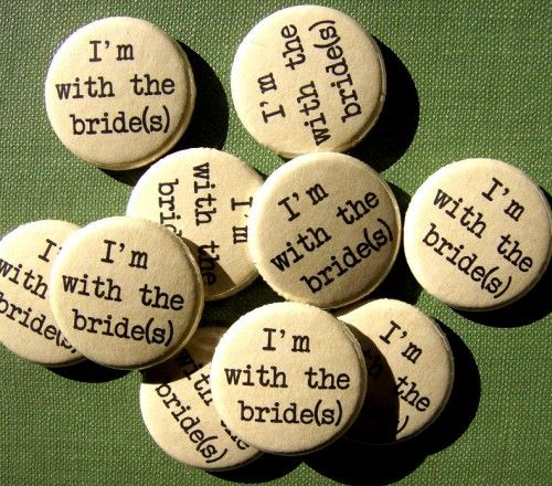 bride pins very cute idea for Lesbian wedding (or LGBT wedding same sex wedding.. just.. change the text ;-) )