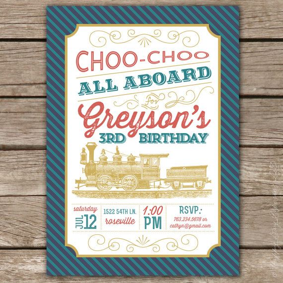 18 best Train Invites images on Pinterest Train party Invites and