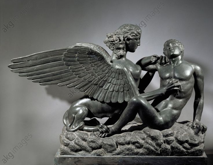 SPHINX / ROMAN COPY OF PHIDIAS / C5 BC. Greek, Phidias, 5th century BC.  The Theban Sphinx with a young man as sacrifice.  Roman copy of a figurative detail from the throne of the statue of Zeus at Olympia, c. 440/30 BC. Bronze. Antikensammlung,