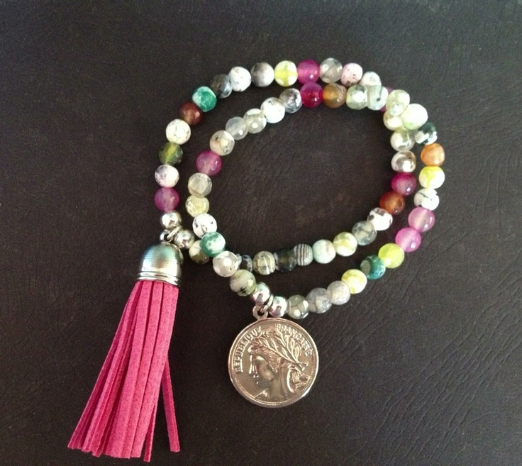 $45.00 Coloured faceted jade bracelets with French coin and faux suede tassel charm