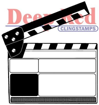 Movie Clapper Deep Red Cling Rubber Stamp Set