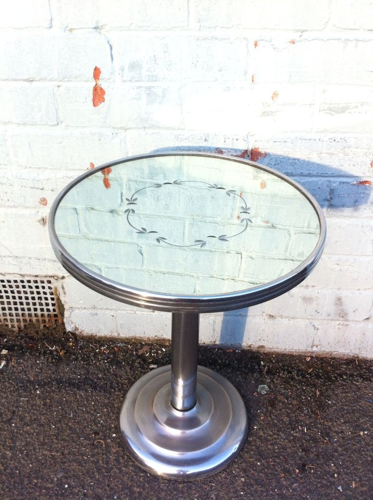 Cool retro mirrored top chrome base table. Sold by Vintage Design Shop in Melbourne (www.facebook.com/VintageDesignShop)
