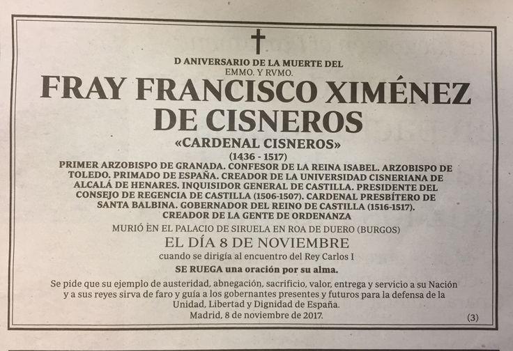 Esquela publicada ayer en el diario ABC para conmemorar el 500 aniversario de la muerte del cardenal Cisneros. Eso sí que es un #cabodano...
