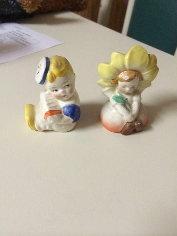 Vintage Porcelain Children Little Boy And Girl Salt And