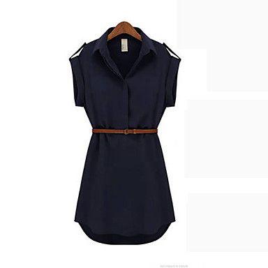 Kathy slacciano grande camicia sottile colletto manica corta vestito chiffon (cachi, Navy Blue) - EUR € 12.37