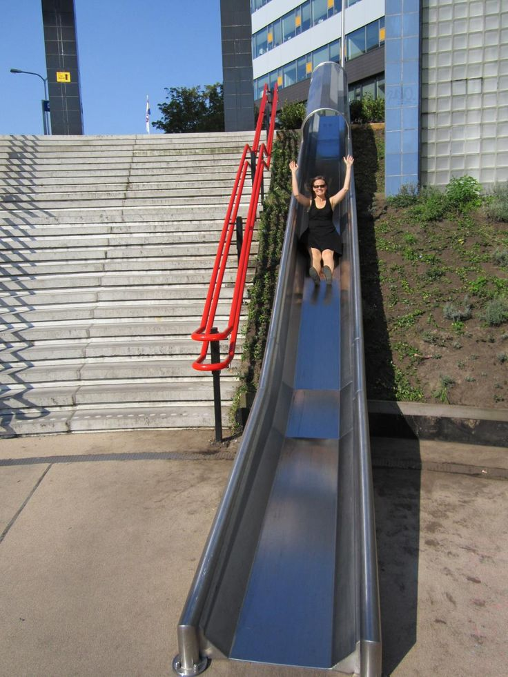 Adult-sized slide at Utrecht Overvecht train station (NL). Click image for link to full profile and visit the slowottawa.ca boards >> http://www.pinterest.com/slowottawa