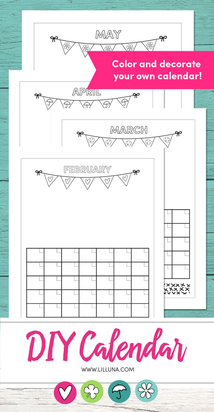 DIY Print and Color Calendars - let the kids print and color and gift these to grandparents or hang in your own home to display.