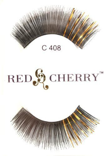 Color Eyelashes (with Gold Tinsel) C408 Red Cherry