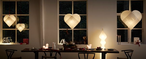 "LE KLINT 2012 - Project Love & Light |  ""'Throughout Scandinavia a heart is the traditional way to light a window and spread the holiday's warmth to neighbors or a stranger passing by. I fell in love with this old fashioned heart during my first Danish Christmas and persuaded my husband, Le Klint's CEO, to help me make an interpretation of this beautiful Scandinavian tradition."" ~ Isa Dawn Whyte Jensen"