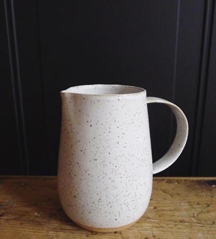 Speckled White Ceramic Pitcher by Jessie Lazar Ceramics on Scoutmob Shoppe