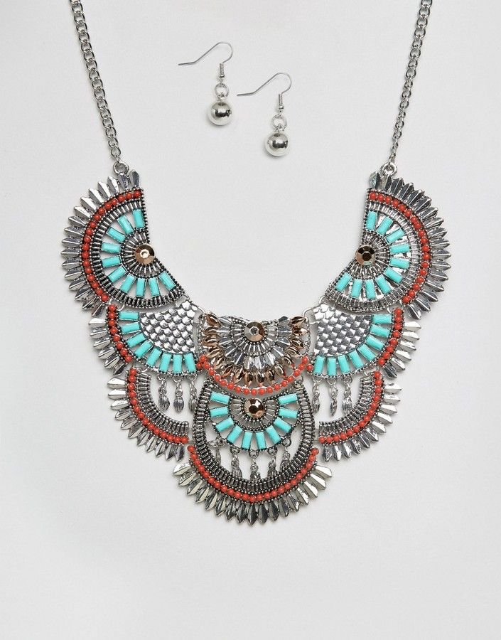 Ruby Rocks Statement Festival Necklace And Earring Set