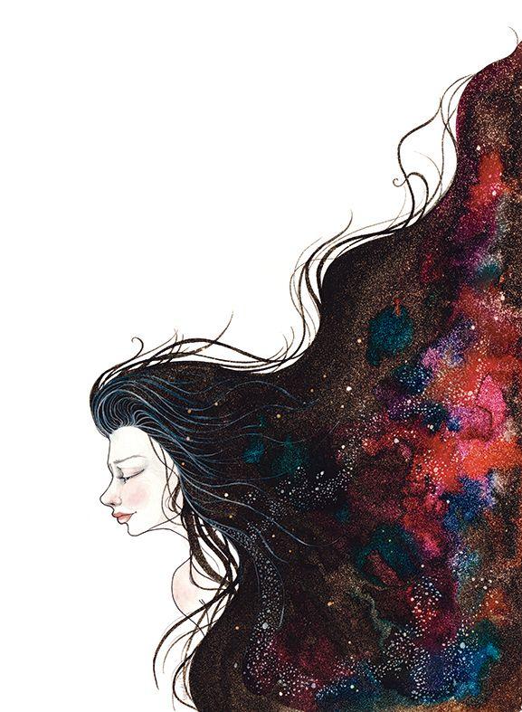 Galaxy girls on Behance #Galaxy #Illustration #ink #watercolors #art