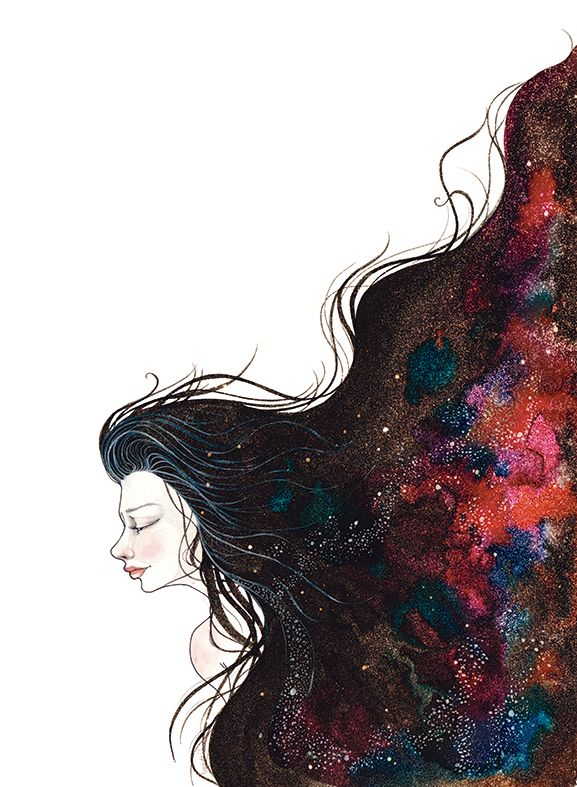 Galaxy girls on Behance #Galaxy #Illustration #ink #watercolors #art