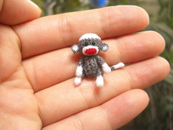 Tiny Sock Monkey 1 inch  Micro Amigurumi Crochet by SuAmi on Etsy, $30.00