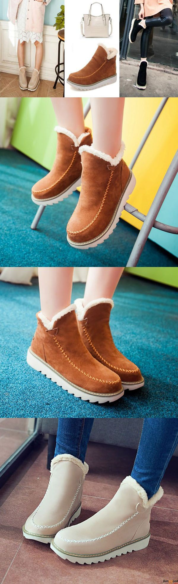 US$38.99+ Free Shipping. Big Size Pure Color Warm Fur Lining Winter Ankle Snow Boots For Women. Comfy and casual. Winter fashion style for women. Shop at banggood with super affordable price.