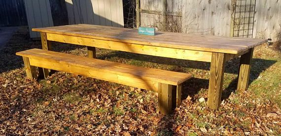 Large Rustic Farm Table 12 Foot Farmhouse Country Cabin Kitchen Wood Table W Two Matching Benches Custom Sizes Colors Golden Oak Stain With Images Rustic Farm Table Farm Table Rustic