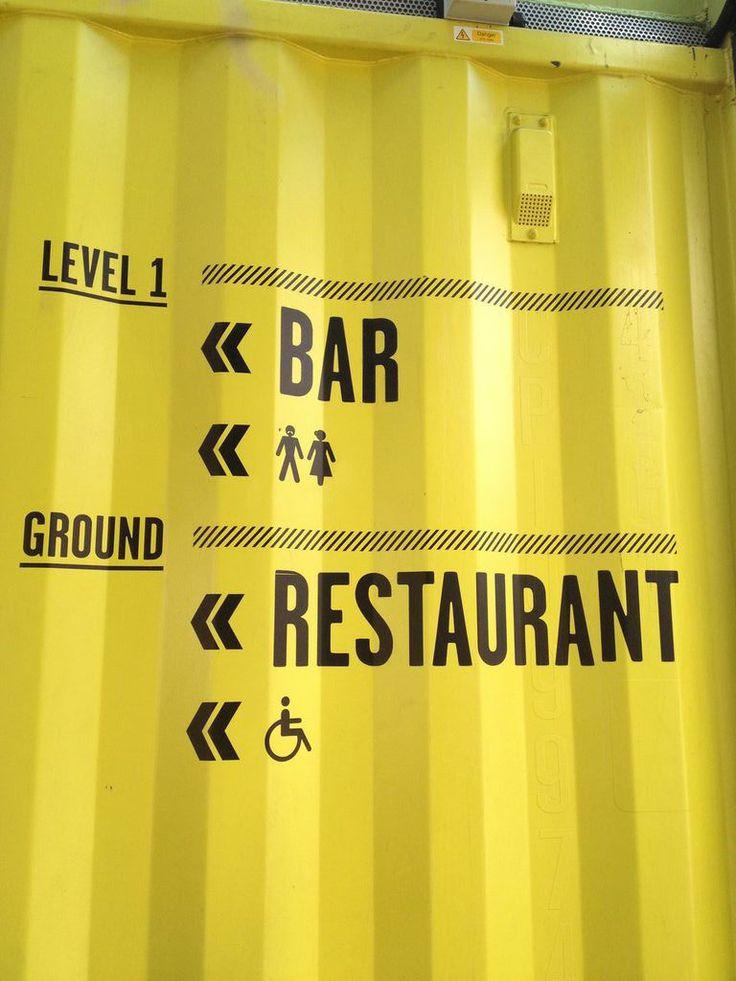 Shipping Container Restaurant Industrial signage, Bussines inventive signage, señaletica empresarial, diseño de locales comerciales